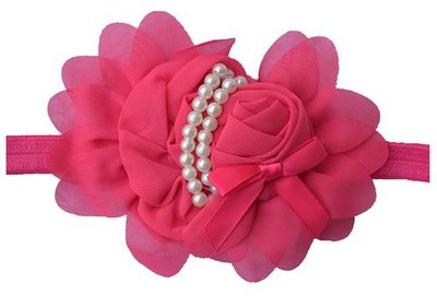 Girls Hot Pink Rose Pearl Haarband