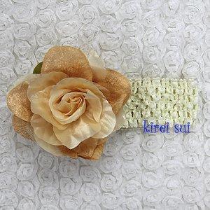 Haarband Gorgeous Champagne Peony cream Crochet