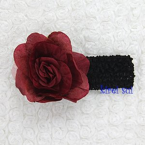 Haarband Gorgeous Ruby Rose and Black Crochet
