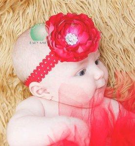Haarband Big Flower Red Hotpink Diamond