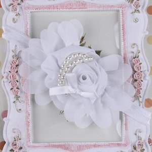 Girls White Rose Pearl Haarband