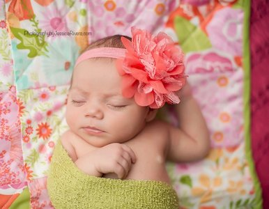 *Haarband Craft Lace Chiffon Flower Peach Pink
