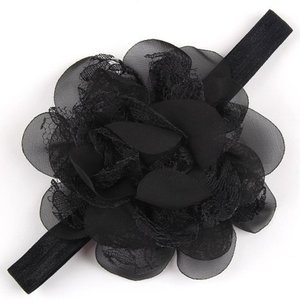 *Haarband Craft Lace Chiffon Flower Black