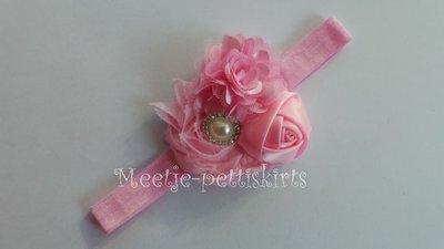 Haarband Pearl rossette Diamand Pink