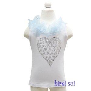 Rhinestone heart met strik tanktop White Skyblue/ baby blauw