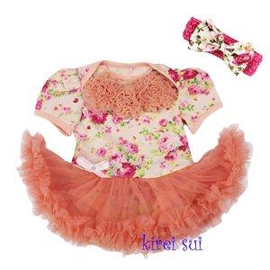 * Pettiskirt Romper Flower Koraal pink Rossette + haarband
