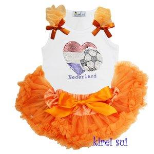 Petticoat Set Baby Orange + top Rhinestone Worldcup Netherlands