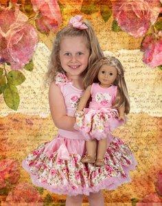 Petticoat set Flower Heart + Poppenset