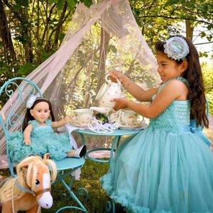 Ruffle Butts Prinses Aqua Blauw Pettidress + Poppenjurk