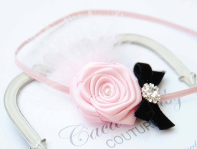 Exclusieve haarband Baby Tiny Pink with Feather