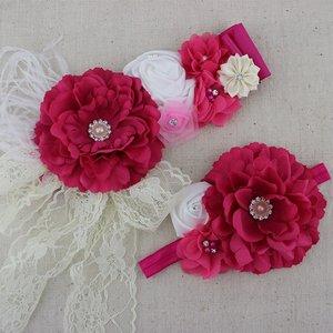 *Handgemaakte Luxe Rose Garden Hotpink Ceintuur + bijpassende haarband