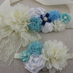 Handgemaakte Luxe Rose Garden Vintage Colorful Ivory White Blue Ceintuur + bijpassende haarband