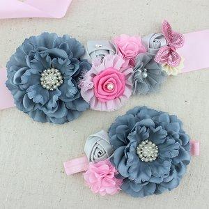 Handgemaakte Luxe Rose Garden Vintage Colorful Gray Pink Ceintuur + bijpassende haarband