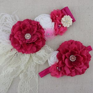 Handgemaakte Luxe Rose Garden Vintage Bigflower Hotpink Ceintuur + bijpassende haarband