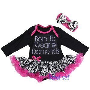 Pettiskirt Romper longsleeve Black Demask Born to wear diamonds