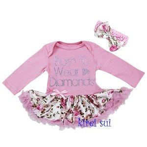 * Pettiskirt Romper longsleeve Pink Flower Wear to be diamonds