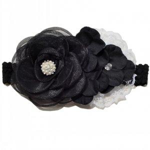 **Luxury Black Gauze Layered Rose Flower With Triple Hydrangea Flower Lace Haarband