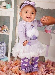 * 3delige set Pettiskirt Romper longsleeve Lavendel White Cupcake