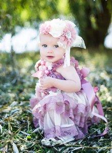 Beauty Grote Luxe haarband Dustypink Chiffon Beaded Flower