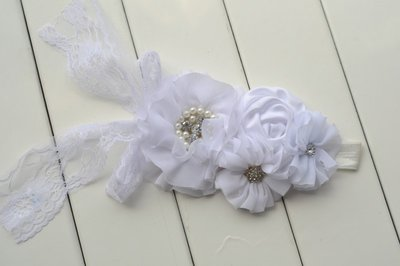 ** Beauty Grote Luxe haarband White Chiffon Beaded Flower