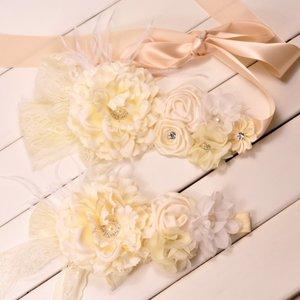 **Handgemaakte Luxe Lace Rose Garden Vintage Cream Ceintuur + bijpassende haarband