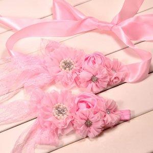 **Handgemaakte Luxe Lace Rose Garden Pink Ceintuur + bijpassende haarband
