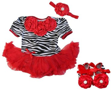 3 delige set Baby Zebra red Rossettes Bodysuit Pettidress