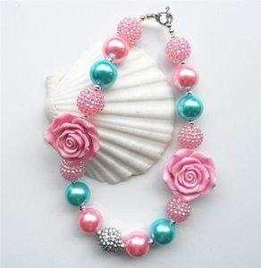 Chunky Ketting Pearl Rose Pink Aquablue