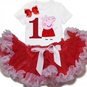 Petticoat Verjaardagset Peppa Big nummer 1 tm 6 jaar
