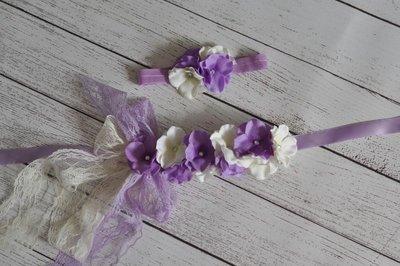 ** Hydrangea Flower Sash/ riem +  Headband  Lavendel
