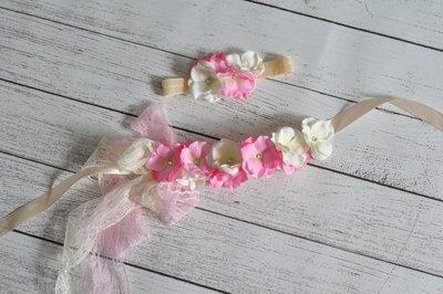 ** Hydrangea Flower Sash/ riem +  Headband Cream Pink