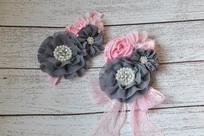 ** Broche de Luxe grijs pink Diamond Chiffon + haarband