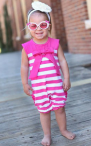 Ruffle Butts Candy Stripe Bow Romper