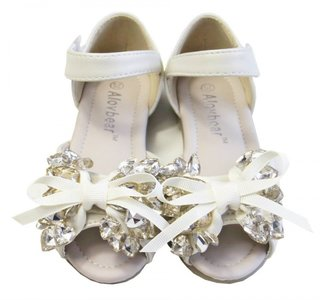 Ballerina Sandaaltjes Chrystal hartjes Cream