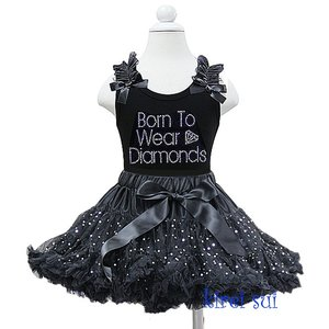 *Petticoat Set Zwart Glitter + top Wear to be diamonds.