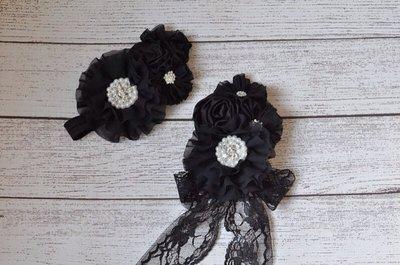 ** Broche de Luxe Zwart Diamond Chiffon + haarband