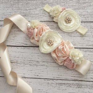 Handgemaakte Luxe Layer Flower Ceintuur Beige peach Ivory + bijpassende haarband