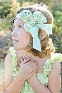Luxury Triple Satin Rosette Flowers Haarband Light Green