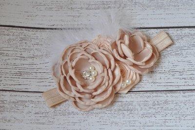 Satin Flower Matching Sparking Rhinestone Beige Haarband