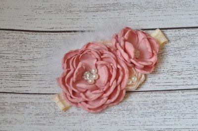 Satin Flower Matching Sparking Rhinestone Dusty Rose haarband