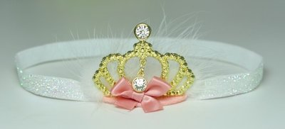 Baby Crown Diamond Feather Haarband