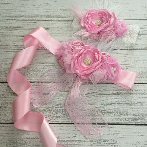 Handgemaakte Luxe Lace Flower Ceintuur Pink  + bijpassende haarband