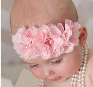 Baby Haarbandje Chiffon flower sparkle roze