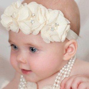 Baby Haarbandje Chiffon flower sparkle creme