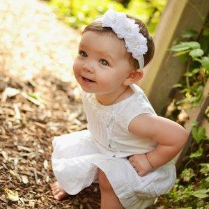 Baby Haarbandje Chiffon flower sparkle wit