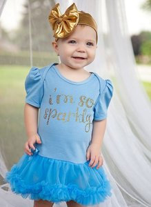 Baby jurk blauw I'm so sparkly