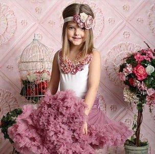 Beauty Feestjurk Petticoat Set Dusty Pink + top & Haarband Luxe Rossette Vintage Pearl 74-134