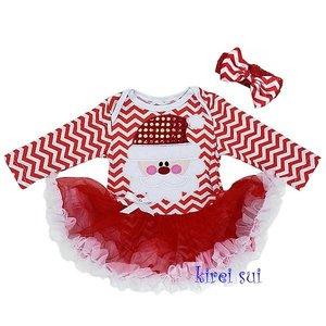 Baby kerstjurkje kerstman Rood chefron longsleeve + haarband