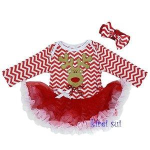 Baby kerstjurkje Rendier Rood chefron longsleeve + haarband