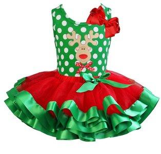 Kerst jurk tutu set rendier polkadot tanktop